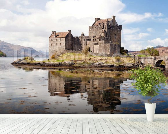 Eilean Donan Castle Panoramic wallpaper mural room setting