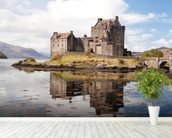 Eilean Donan Castle Panoramic wallpaper mural in-room view