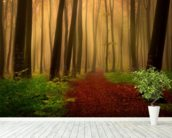 Foggy forest fairytale wall mural in-room view