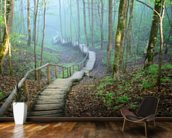 Foggy Forest Stairway mural wallpaper kitchen preview