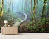 Foggy Forest Stairway mural wallpaper living room preview