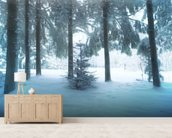Winter Forest mural wallpaper living room preview