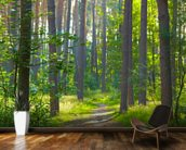 Forest sunrise mural wallpaper kitchen preview