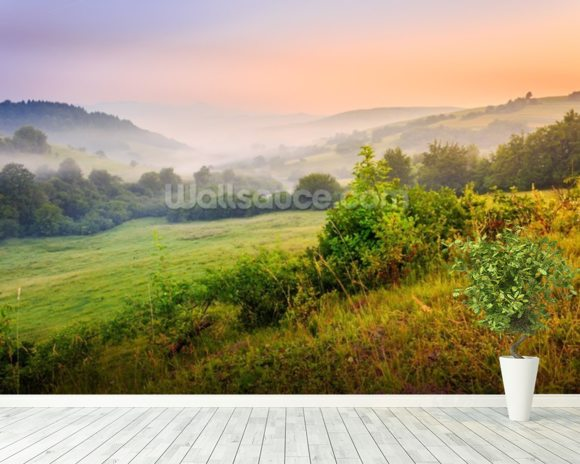 Misty Hills mural wallpaper room setting