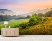 Misty Hills mural wallpaper living room preview