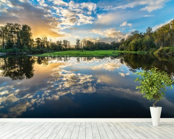 Wide Angle River Clouds Reflection wall mural room setting