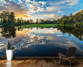 Wide Angle River Clouds Reflection wall mural kitchen preview