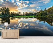 Wide Angle River Clouds Reflection wall mural living room preview