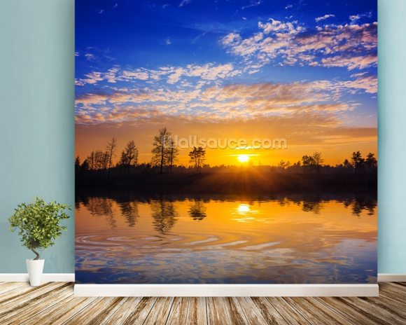 Sunset Reflection wallpaper mural room setting