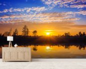 Sunset Reflection wallpaper mural living room preview