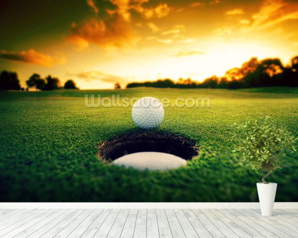 Golf at Sunset wallpaper mural room setting