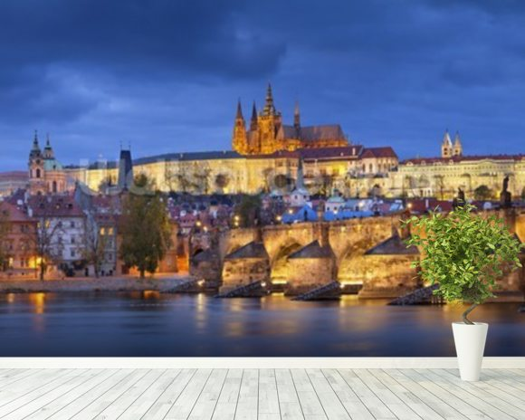 Prague at Night wallpaper mural room setting