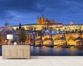 Prague at Night wallpaper mural living room preview