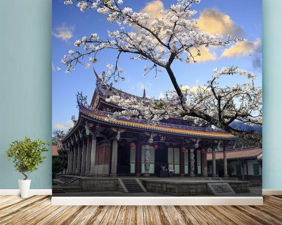 Sakura Temple mural wallpaper room setting