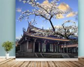 Sakura Temple mural wallpaper in-room view