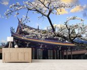 Sakura Temple mural wallpaper living room preview