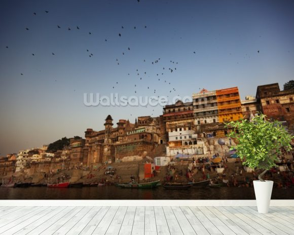 River Ganges, Varanasi mural wallpaper room setting