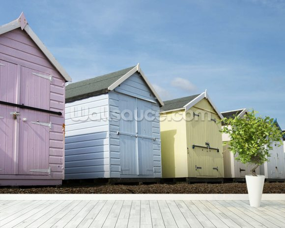 Beach Huts wall mural room setting