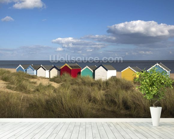 Beach Huts, Southwold wallpaper mural room setting