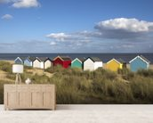 Beach Huts, Southwold wallpaper mural living room preview