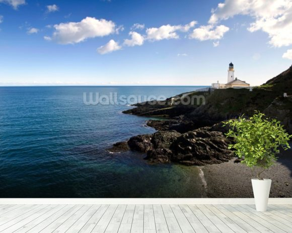 Lighthouse on Cliffs mural wallpaper room setting