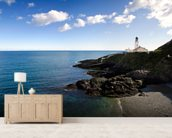 Lighthouse on Cliffs mural wallpaper living room preview