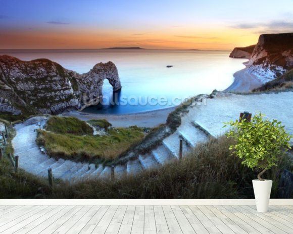 Durdle Door Sunset wallpaper mural room setting