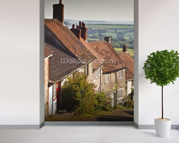 Gold Hill in Shaftesbury, Dorset wallpaper mural room setting