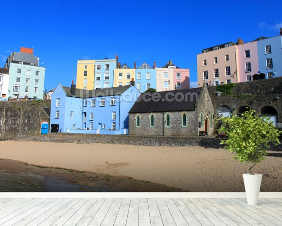 Buildings At Tenby Harbour wall mural room setting