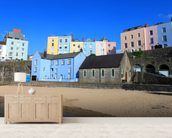 Buildings At Tenby Harbour wall mural living room preview