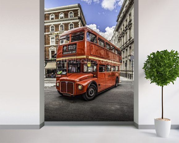 London Double Decker wall mural room setting