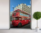 London Bus wall mural in-room view