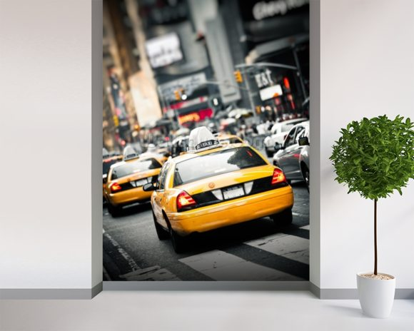 New York Taxis Cab wallpaper mural room setting