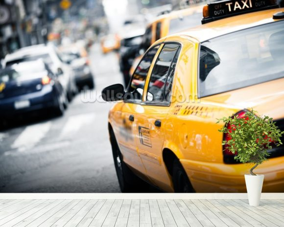 New York Taxi mural wallpaper room setting