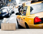 New York Taxi mural wallpaper living room preview