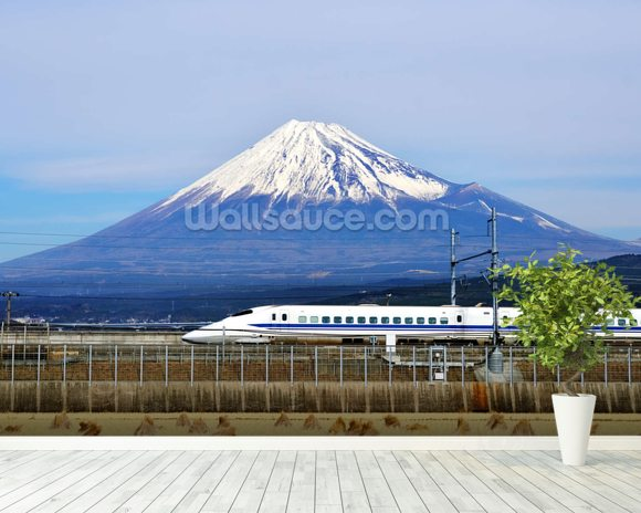 Mt. Fuji and the Bullet Train mural wallpaper room setting