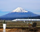 Mt. Fuji and the Bullet Train mural wallpaper kitchen preview