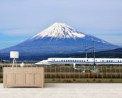 Mt. Fuji and the Bullet Train mural wallpaper living room preview
