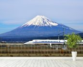 Mt. Fuji and the Bullet Train mural wallpaper in-room view