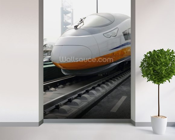 Japan Bullet Train wallpaper mural room setting