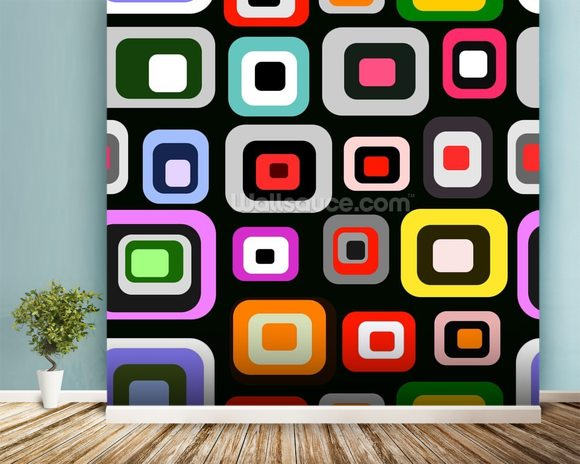 Retro Squares Pattern mural wallpaper room setting