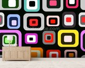 Retro Squares Pattern mural wallpaper living room preview