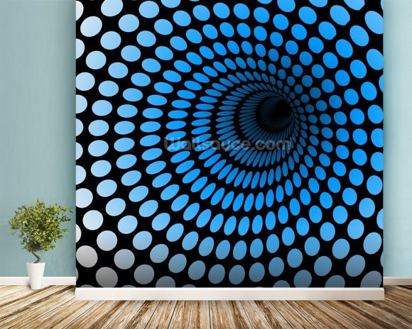CGI Blue Tunnel wall mural room setting