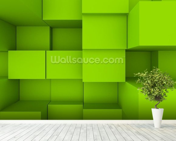 3D blocks wallpaper mural room setting