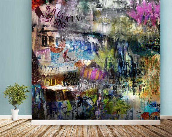 Grunge wallpaper mural room setting