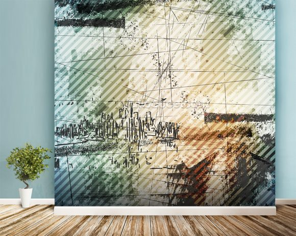 Grunge Urban Style mural wallpaper room setting