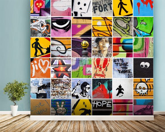 Square Street Art wall mural room setting