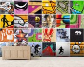 Square Street Art wall mural living room preview