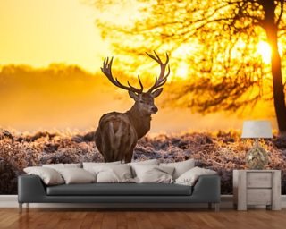 Stag wallpaper deer wallpaper wallsauce for Deer wall mural wallpaper
