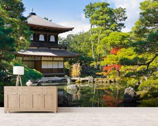 Great Japanese Garden Pavillion Wall Mural Wallpaper
